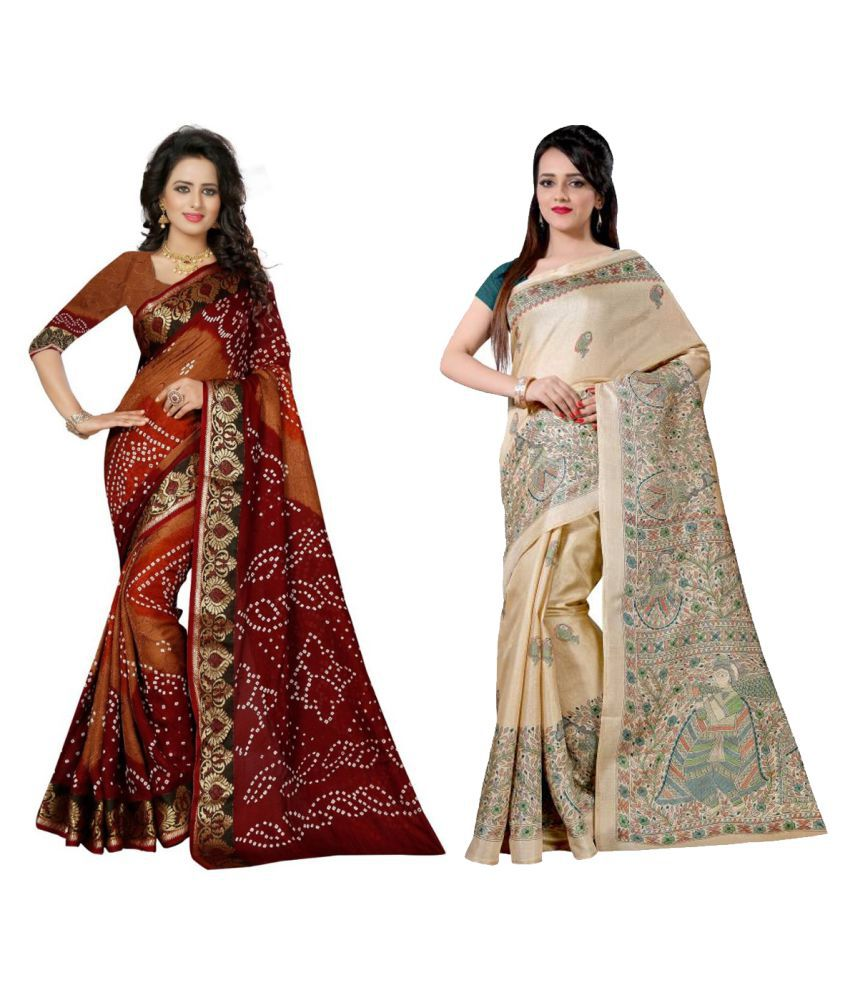 Kavya Fashion Multicoloured Bhagalpuri Silk Saree Combos