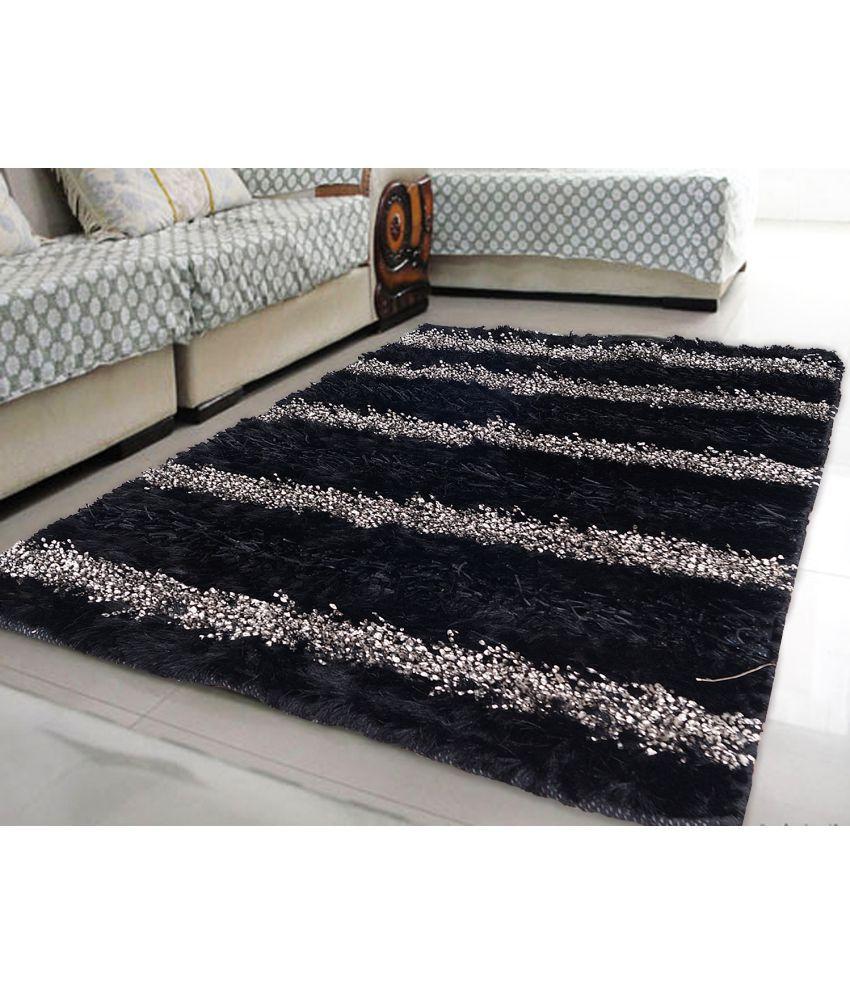 Story@Home Black Polyester Carpet Stripes 3x5 Ft.
