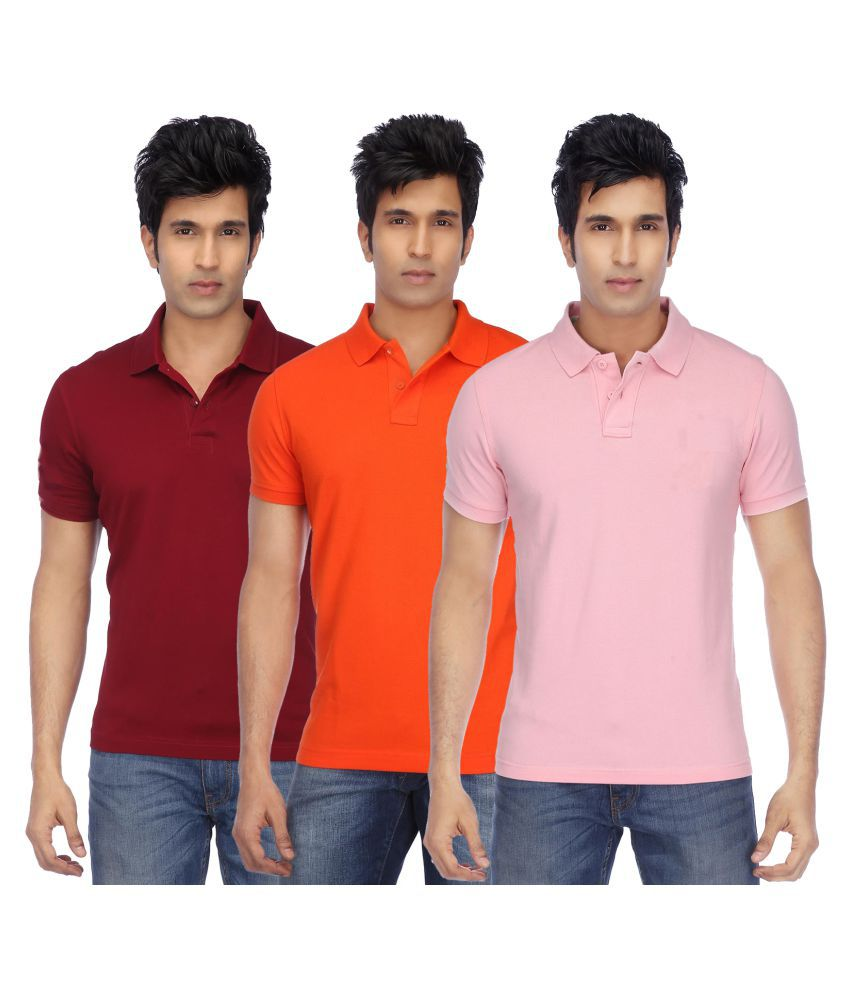 FUNKY GUYS Multi Polyester Polo T-Shirt Pack of 3