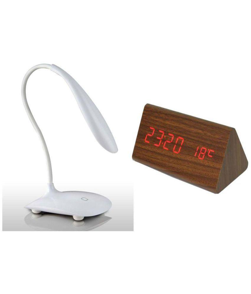 Jeeya Digital Plastic Triangle Table Clock - Pack Of 2