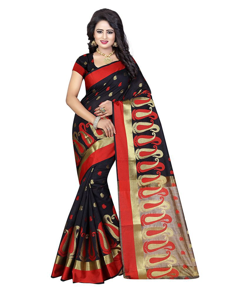 Lavanya Creation Black Polycotton Saree