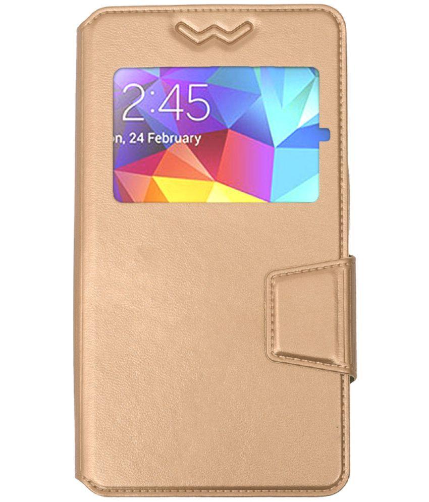 Lava V2S Flip Cover by Shopme - Golden