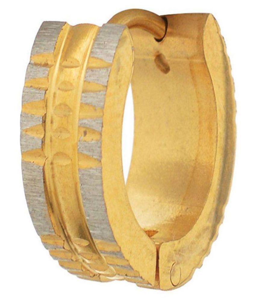 Stainless Steel Gold Plated Mens Studs Hoop Earrings