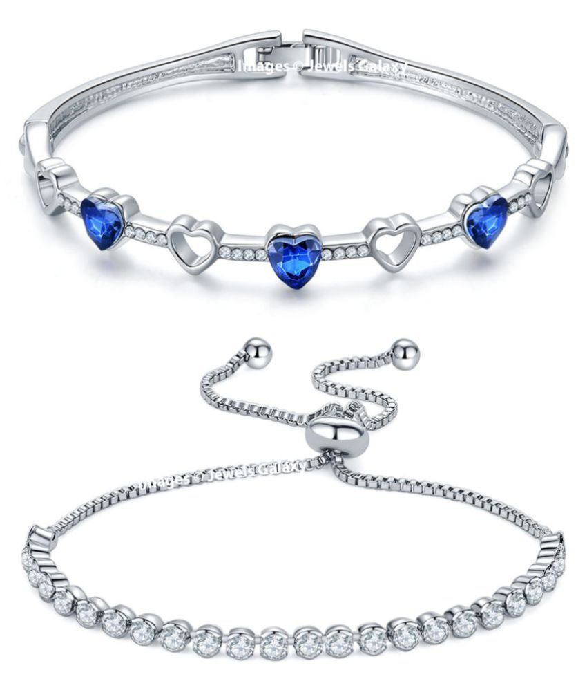 Jewels Galaxy Crystal Elements Exclusivie Luxuria Pure White And Royal Blue Heart Design Platinum Plated Beautiful Bracelets For Women/Girls - Combo of 2
