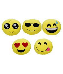 Aarushi Stuffed Soft Smiley Emoji Cushion For Kids Yellow Colour Pack fo 5