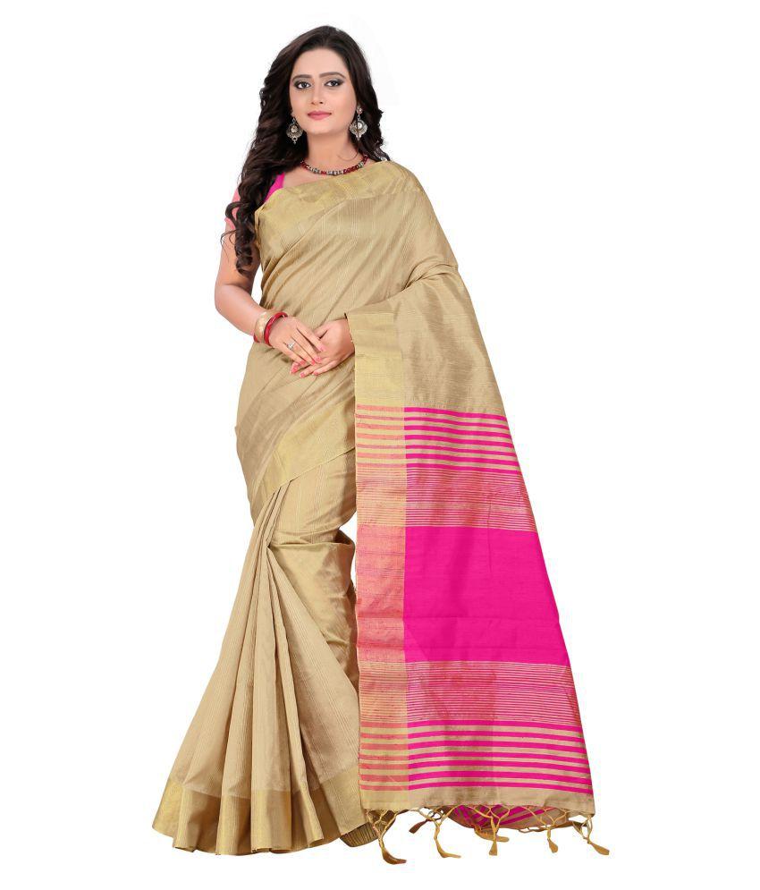 indi wardrobe Beige Cotton Saree