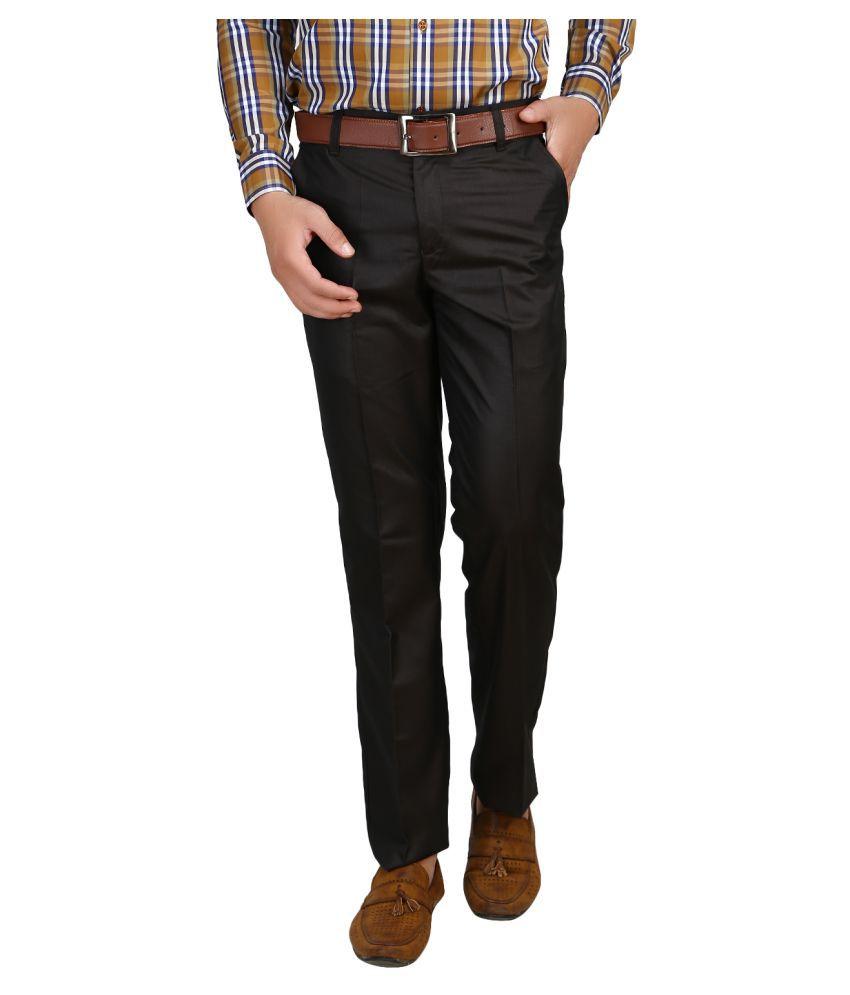 Armazo Black Regular -Fit Pleated Trousers