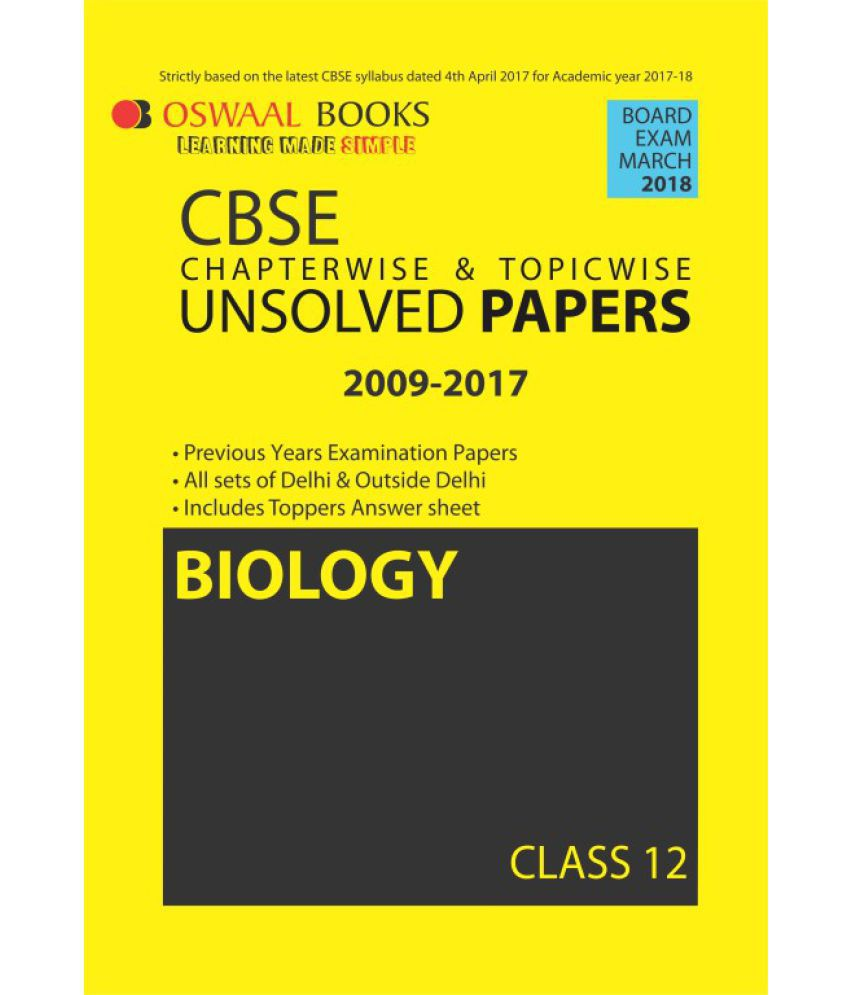 Oswaal Unsolved Paper Question Bank Class 12 Biology(March 2018 Exam)
