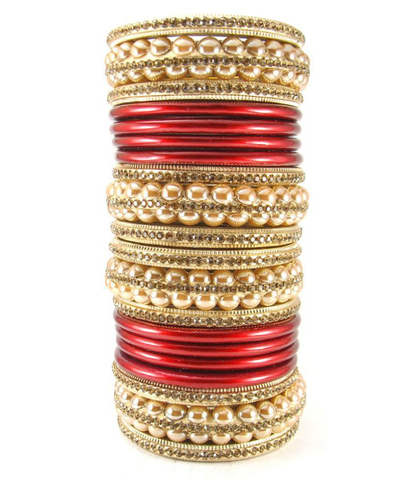 Sukriti Rajasthani Bridal Red Golden Lac Chura Bangles for Women - Set of 20