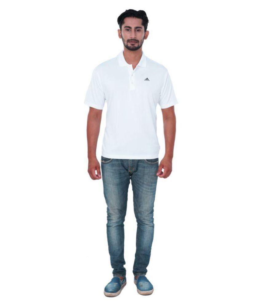 Adidas White Polyester Polo T-Shirt