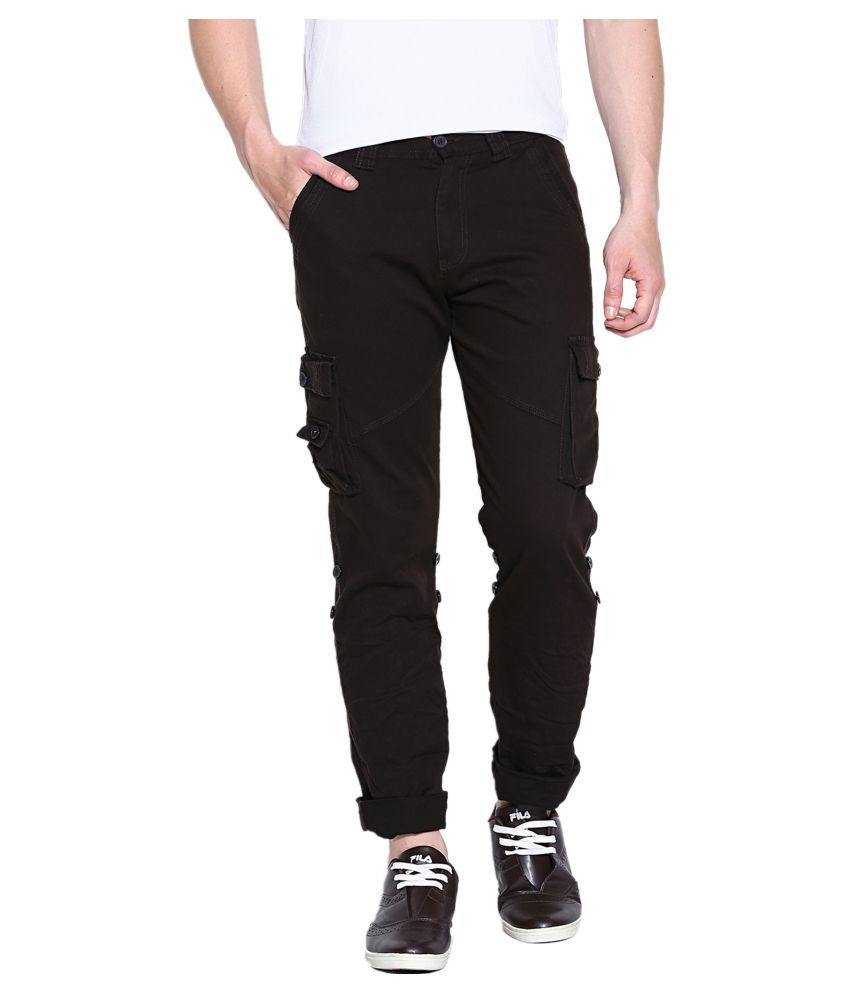 SPORTS 52 WEAR Coffee Regular -Fit Flat Cargos