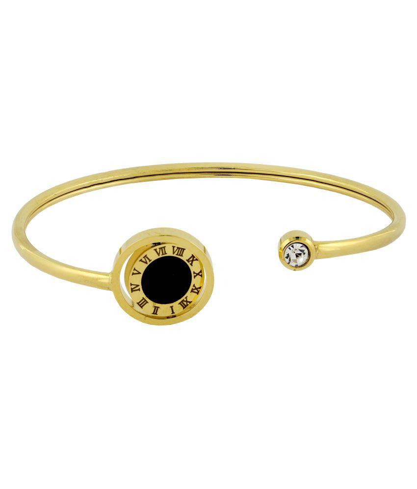 The Jewelbox Roman Digits 18K Gold Black Surgical Stainless Steel Cuff Kada Bracelet Women