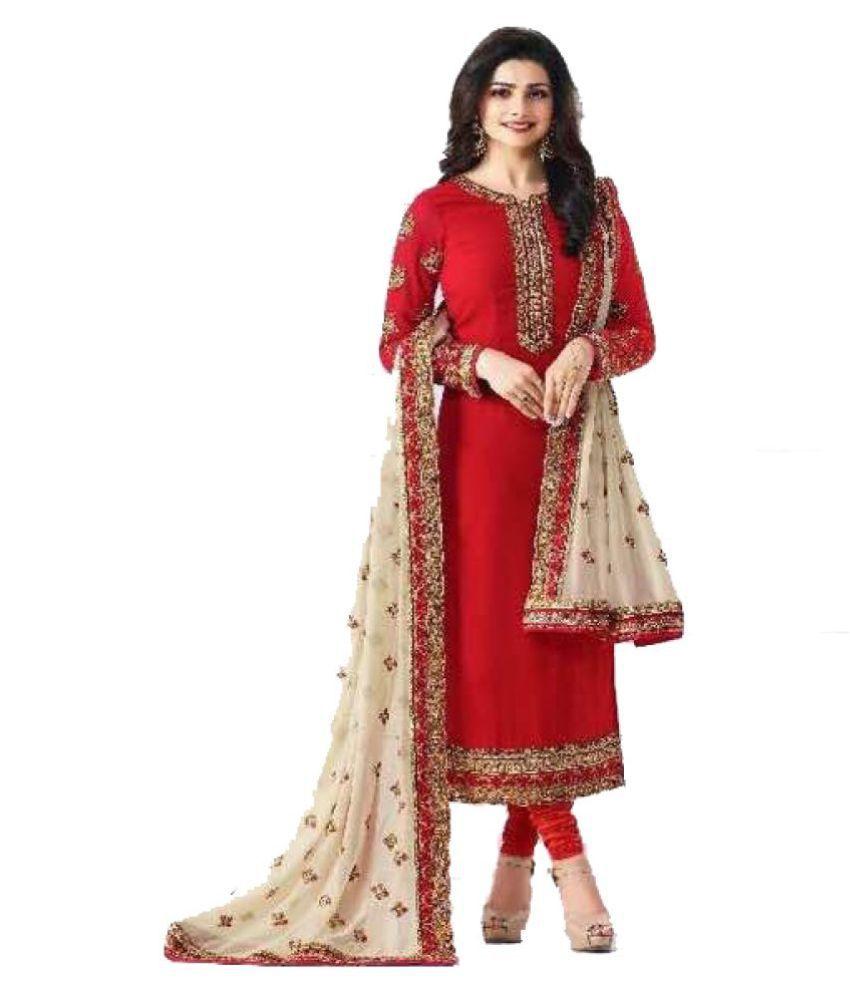 b24abd15d62994 PRAYOSHA ENTERPRISE Red and Beige Georgette Straight Semi-Stitched Suit -  Buy PRAYOSHA ENTERPRISE Red and Beige Georgette Straight Semi-Stitched Suit  Online ...