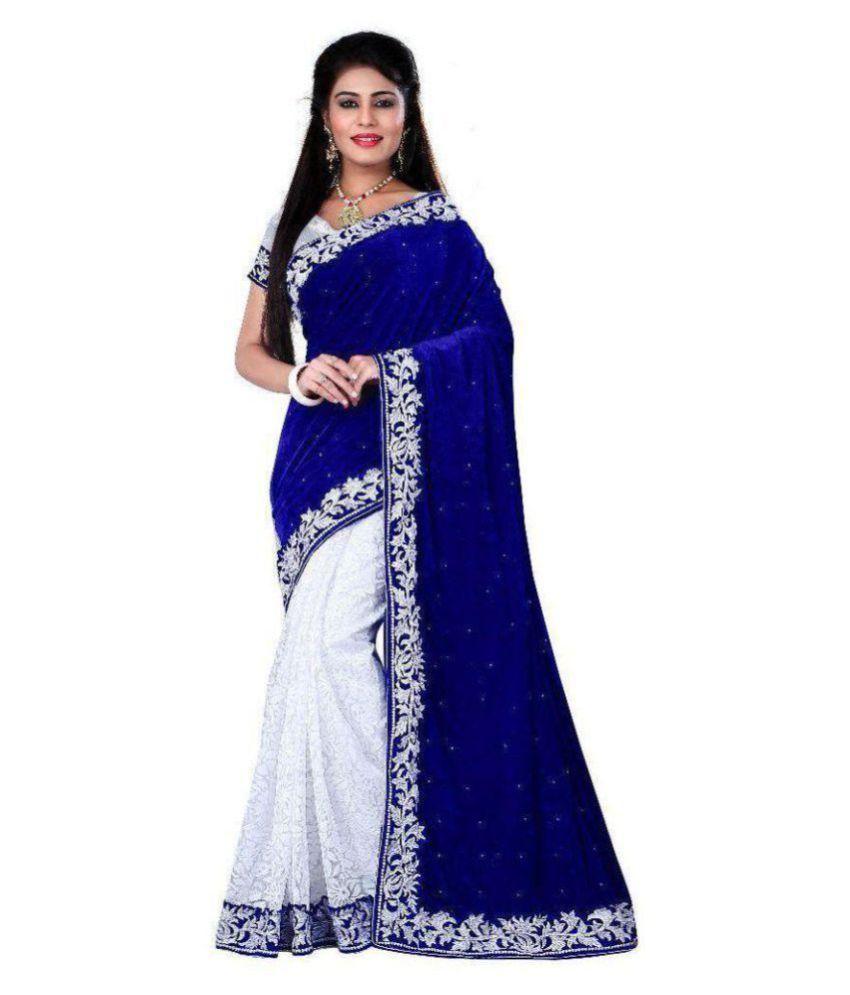 Ashapura Creation White and Blue Velvet Saree
