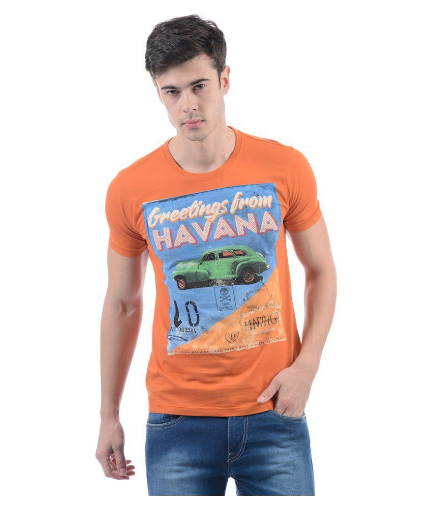 Flying Machine Orange Slim Fit Polo T Shirt