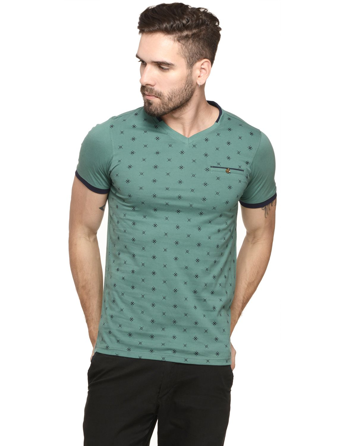 Mode Vetements Green V-Neck T-Shirt