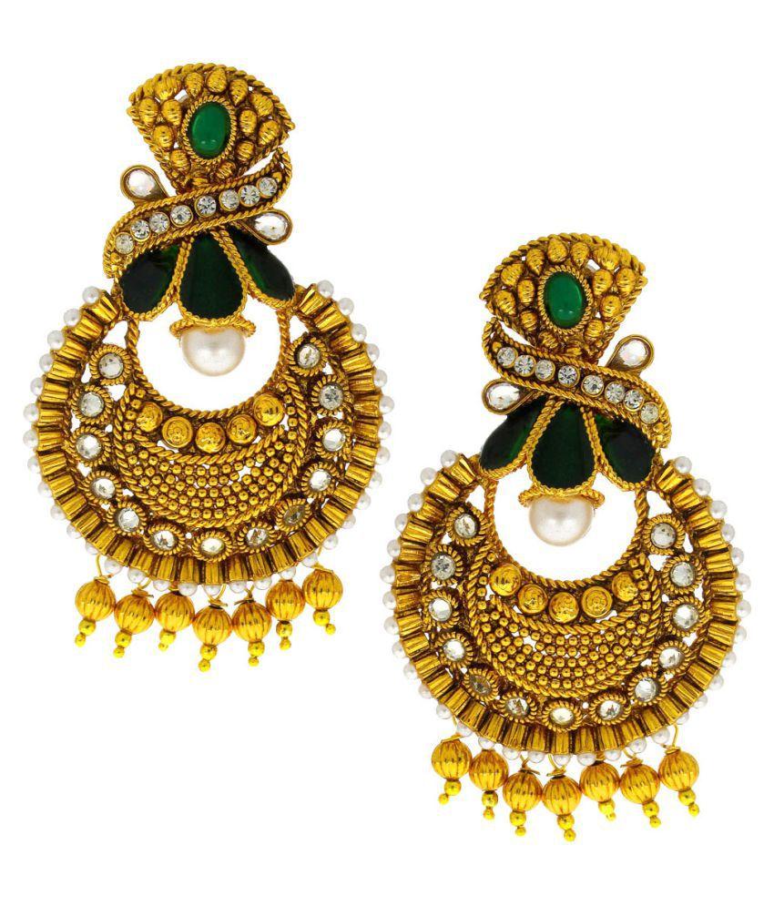 Anuradha Art Goldne Finish Studded Green Colour Shimmering Stone Traditional Earrings For Women/Girls