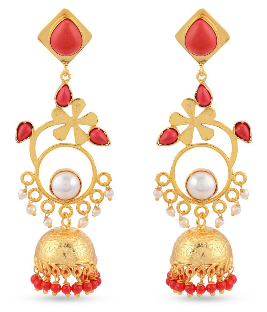 Floral Indo Western Colored Stone Stylish Party Wear Jhumki / Jhumka Earring For Girls / Women