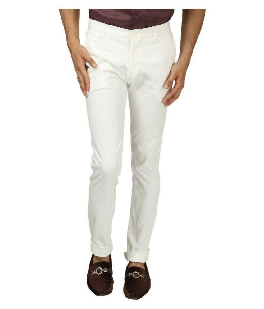 Koutons Outlaw White Regular -Fit Flat Trousers