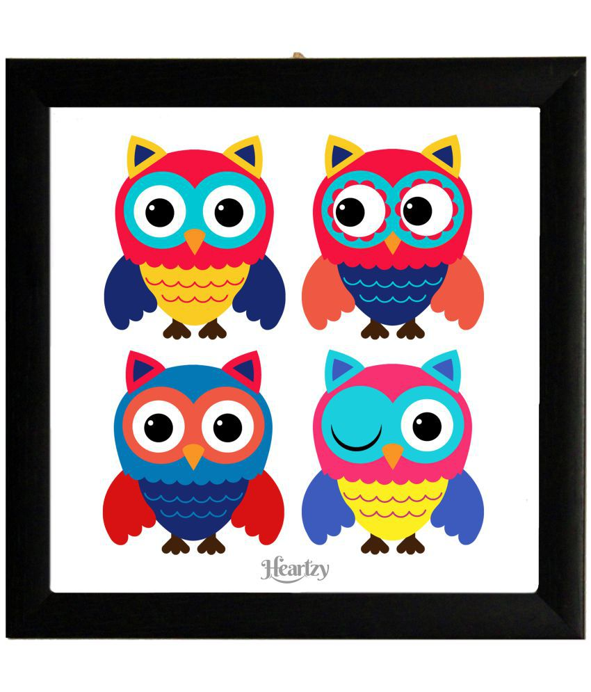 Heartzy Enchanting Expressions Cute Owls Framed Poster Wood Photo Wall Poster With Frame