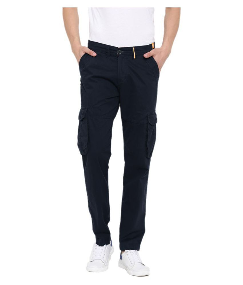 FIFTY TWO Navy Blue Regular -Fit Flat Cargos