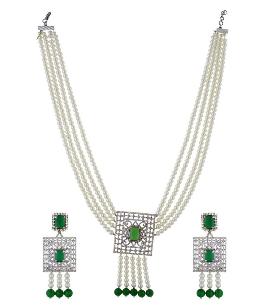 Chaahat Fashion Jewellery Pearl Necklace Set for Women in Squar Style with Designer Earrings