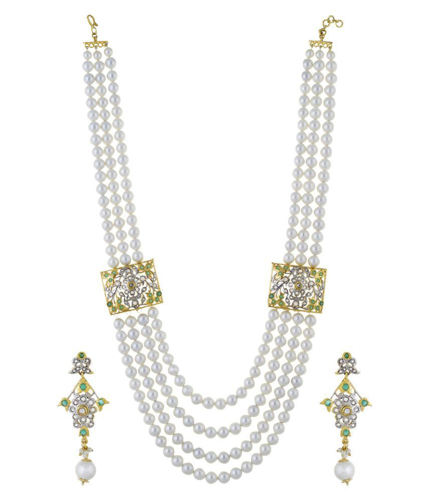 7b5b7e4b8d ... Chaahat Fashion Jewellery Pearl Necklace Set for Women with Drop  Earrings