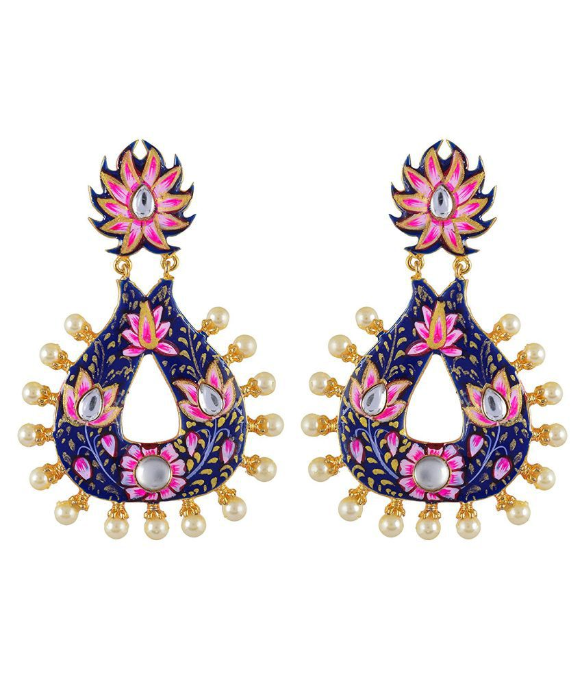Tistabene Traditional Floral Hand Painted Meenakari Gold Plated Stylish Party Wear Dangler Earring For Girls / Women (ER-1785)