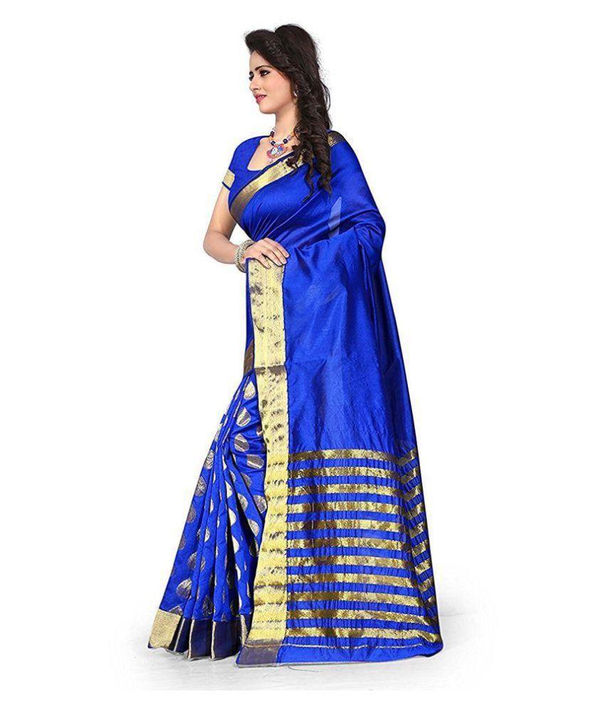 563a8dbc5b Shailaja Sarees Blue Cotton Silk Saree Shailaja Sarees Blue Cotton Silk  Saree ...