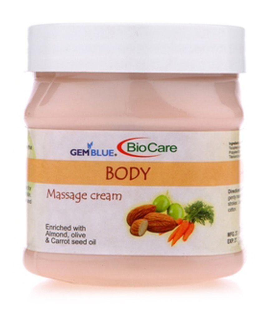Biocare Gemblue Almond, Olive & Carrot Seed Oil Body Massage Cream 500 gm