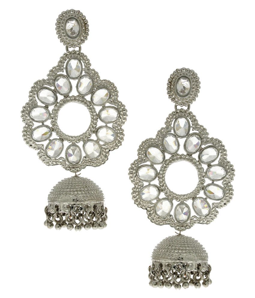 Anuradha Art Silver Finish Studded Stone Traditional Earrings For Women/Girls