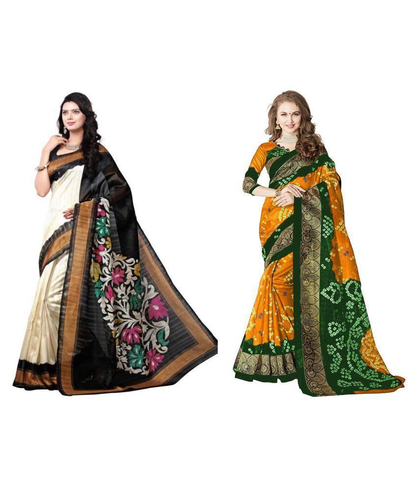 BuyerHub Multicoloured Bangalore Silk Saree Combos