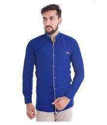 VERO LIE Blue Casual Regular Fit Shirt
