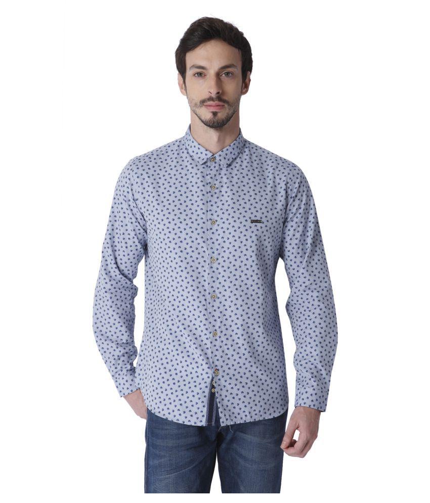 Urban Scottish Blue Casual Slim Fit Shirt