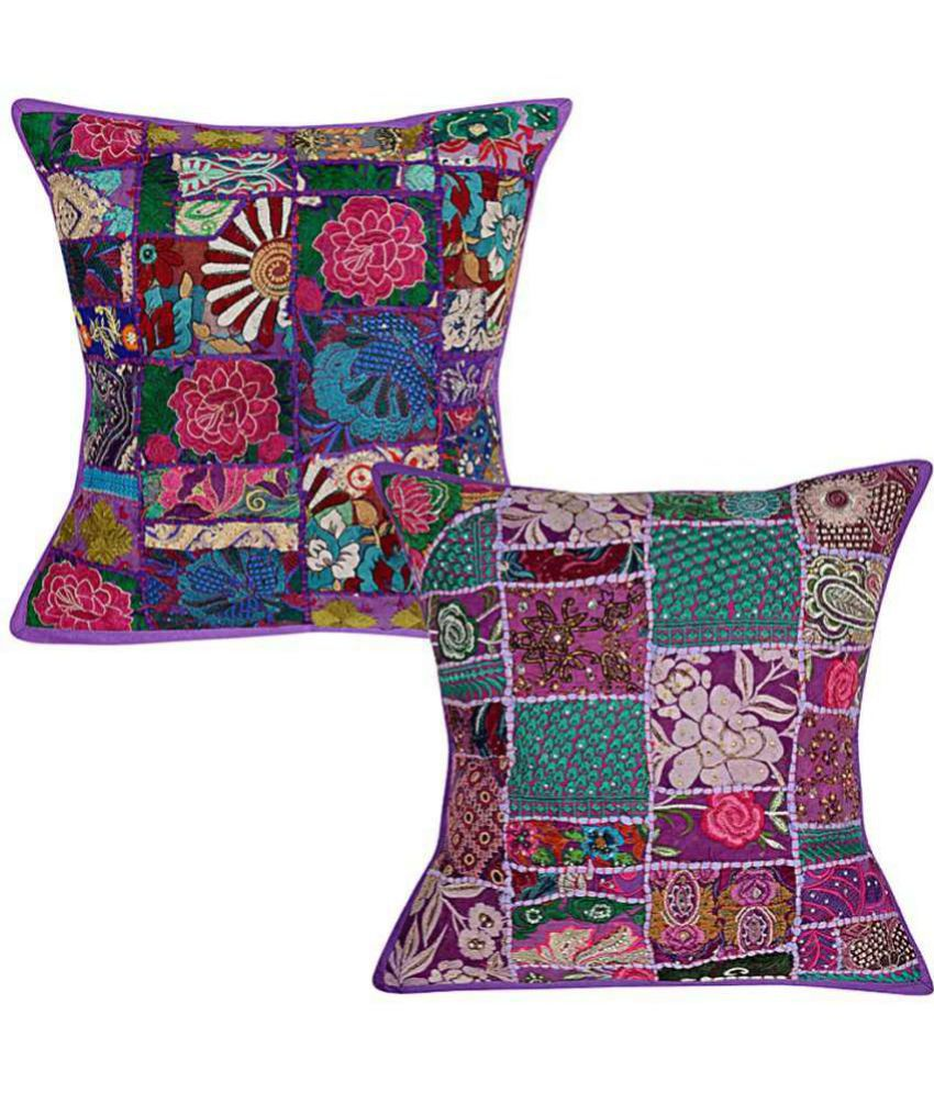 Lal Haveli Set of 2 Cotton Cushion Covers 50X50 cm (20 X 20)