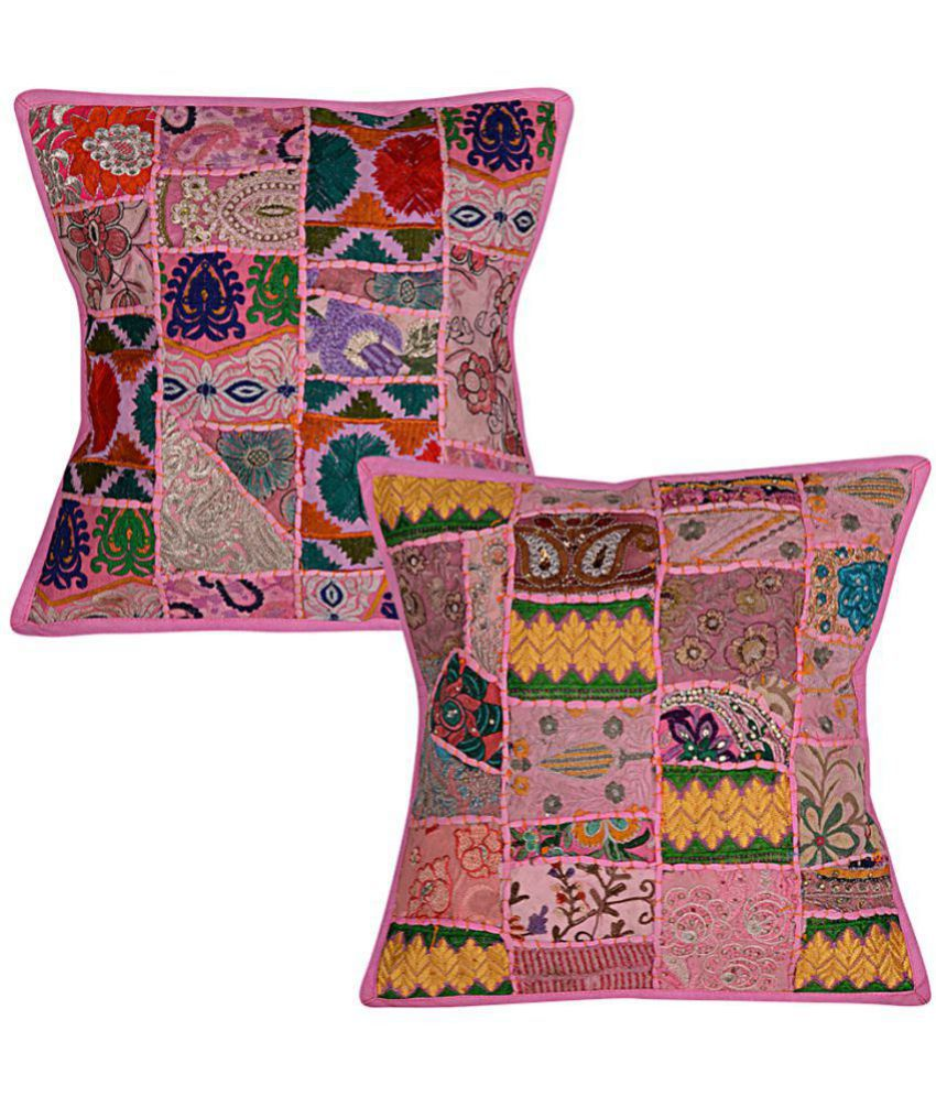 Lal Haveli Set of 2 Cotton Cushion Covers 40X40 cm (16X16)
