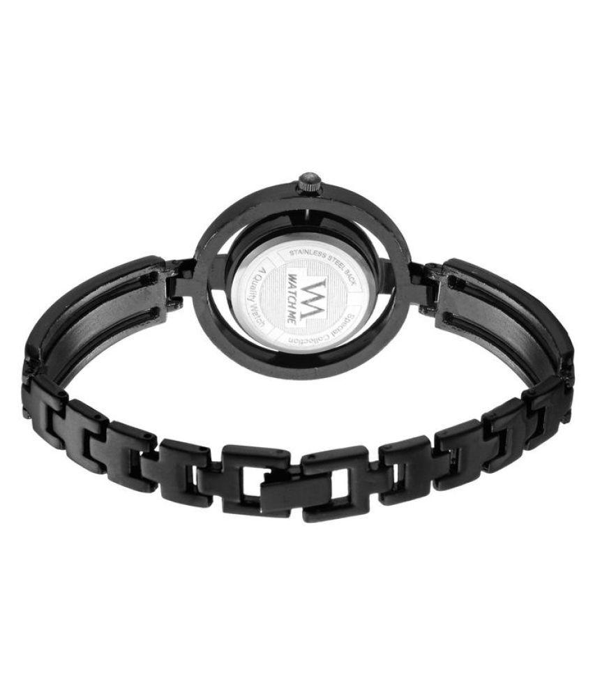 f324c76cd60 ... Watch Me Black Dial Black Stainless Steel Strap Analog watch for Girls  WMAL-131twm ...