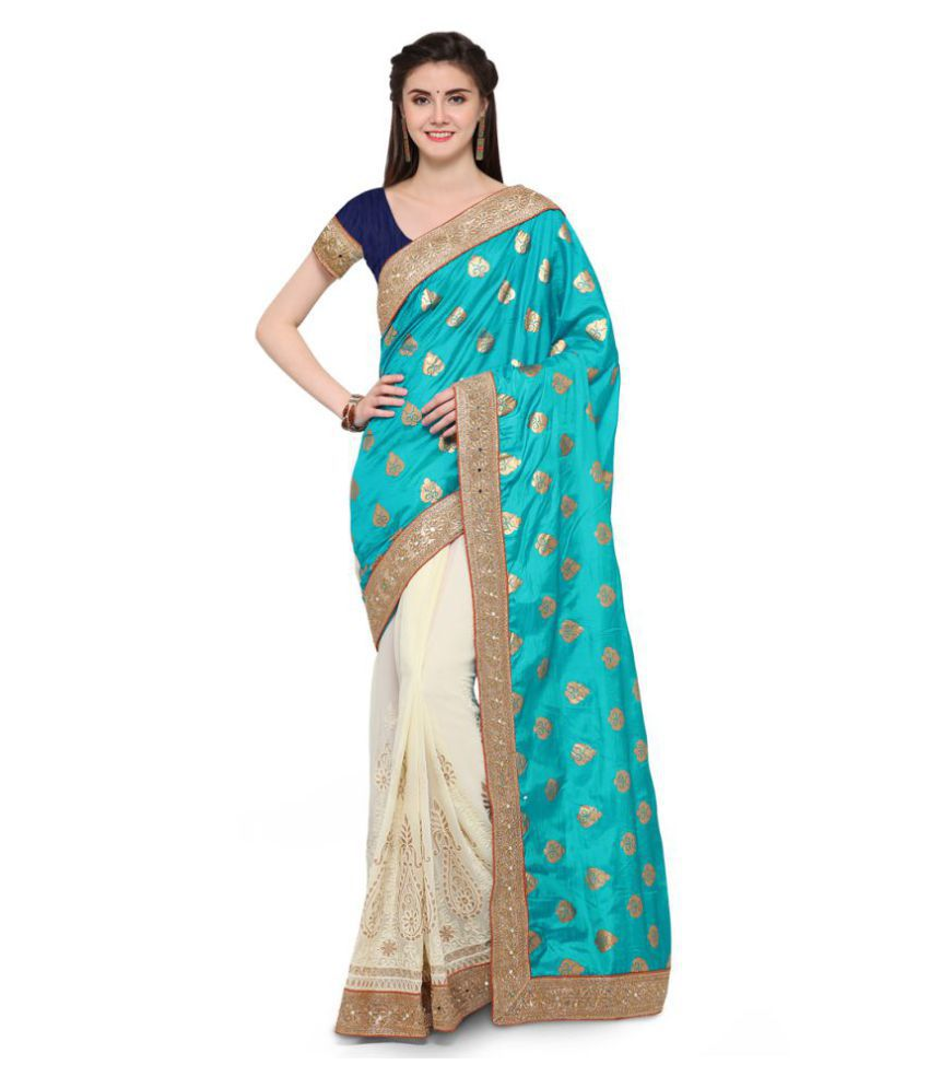 Seemore Green and Beige Georgette Saree