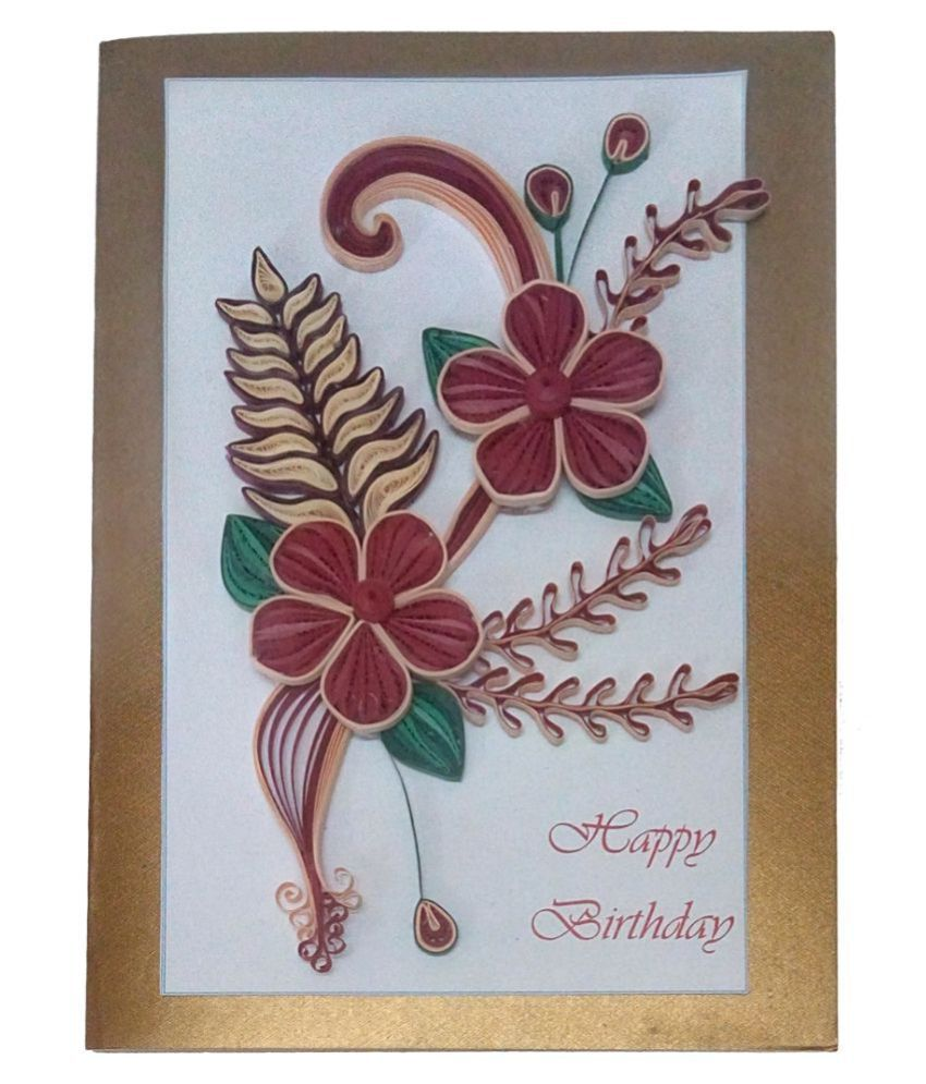 Handmade Paper Quilling Happy Birthday Greeting Card With Flowers Buy Online At Best Price In India