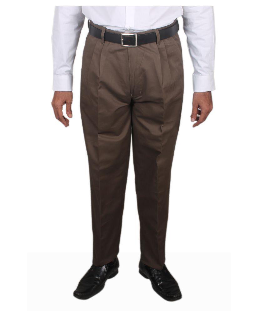 Maharaja Shirt Brown Regular -Fit Pleated Trousers