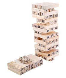 51 Wooden Building blocks with 3 Wooden dice Jenga Learning Game for Kids