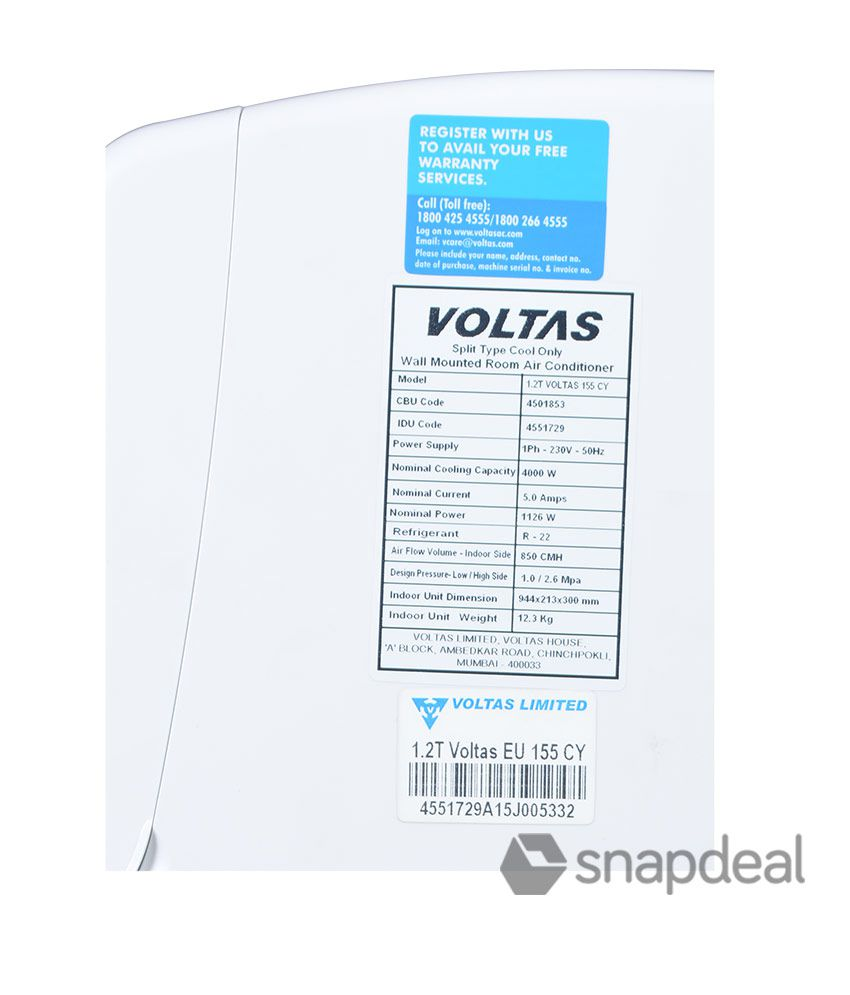 Voltas 1 2 Ton 5 Star 155 CY Split Air Conditioner(2016-17 BEE Rating)