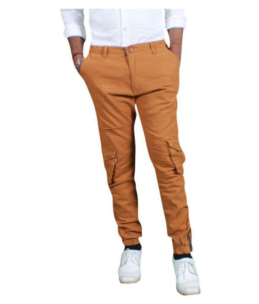 MJstudio Brown Slim -Fit Flat Cargos