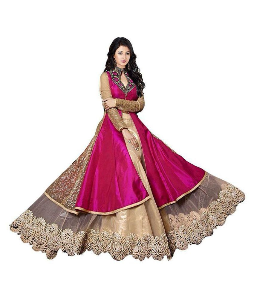 75c9ad7f47b Drashti Villa Red and Beige Bangalore Silk Anarkali Gown Semi-Stitched Suit  - Buy Drashti Villa Red and Beige Bangalore Silk Anarkali Gown  Semi-Stitched ...
