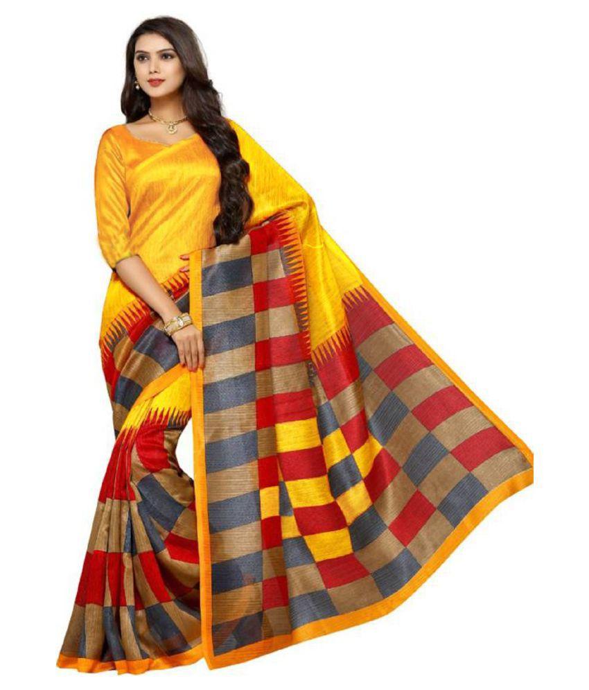 Active Feel Free Life Yellow Tussar Silk Saree