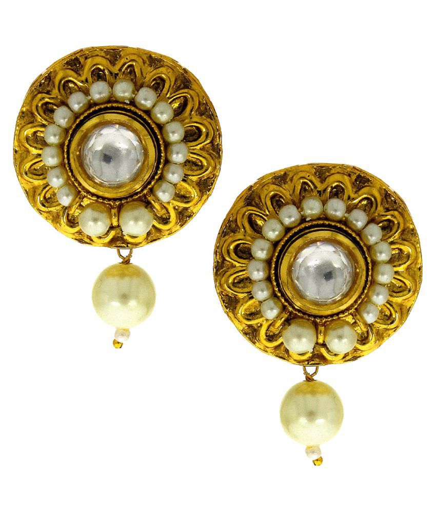 Anuradha Art Golden Finish Simple Stylish Wonderful Classy Traditional Earrings For Women/Girls