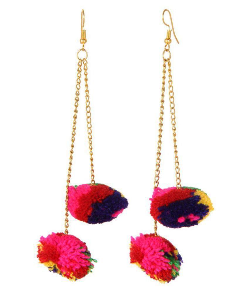 Adoreva Gold multicolour woolen Gota Garba Navratri Fashion Long light weight Earrings for women