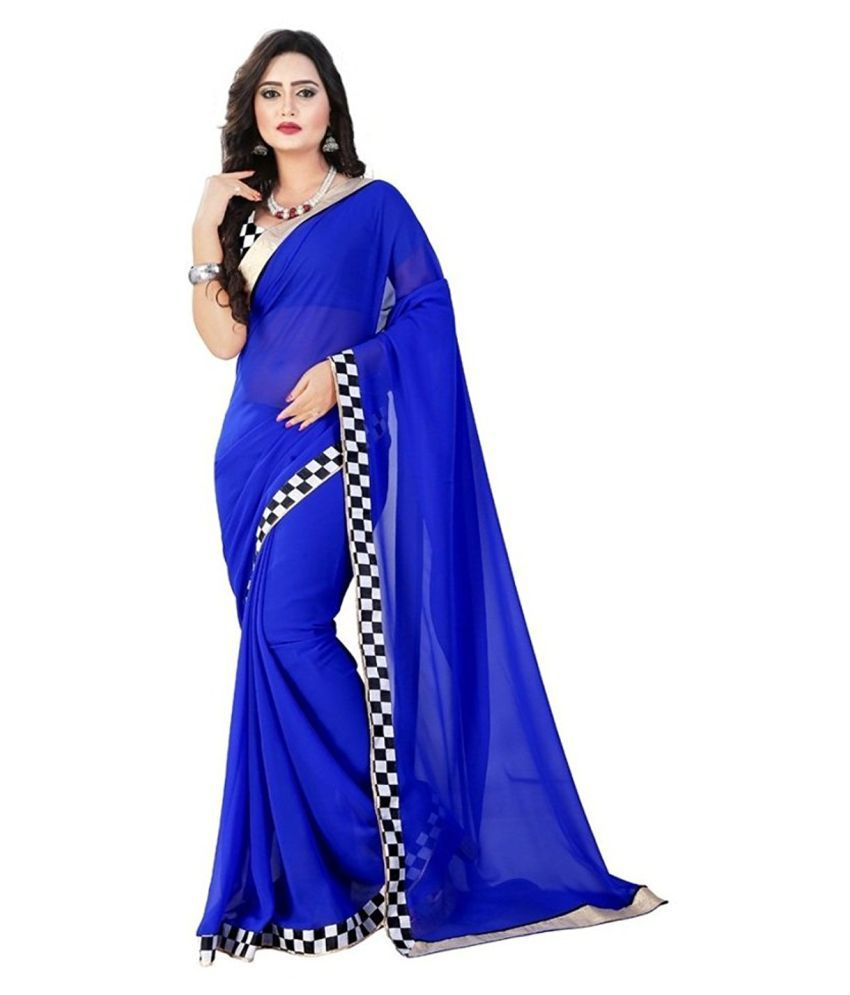 KK Fashion Blue Georgette Saree