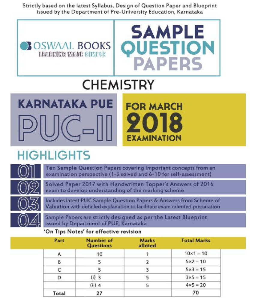 Oswaal karnataka pue sample question papers for puc ii chemistry oswaal karnataka pue sample question papers for puc ii chemistry march 2018 exam malvernweather Choice Image