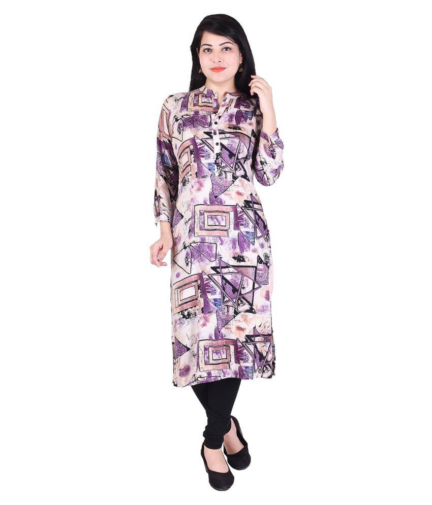SAARVI FASHION Purple Rayon Straight Kurti